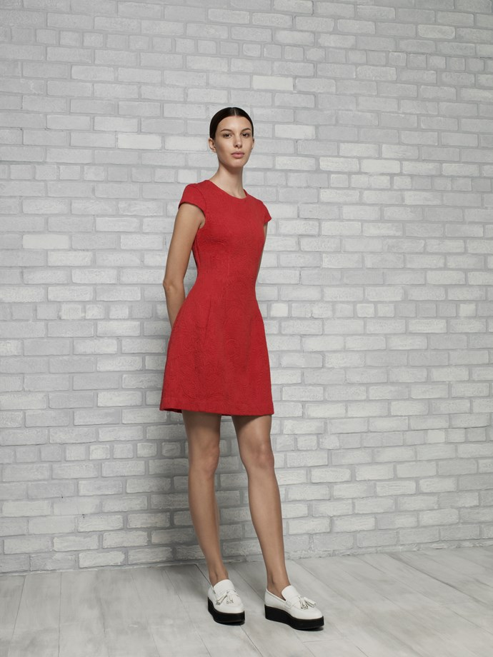 "Jacquard Hourglass Dress in Siren $229 <br/> <br/> <em>All Armani Exchange</em> <br/><br/><br/> This gallery is brought to you by the new <strong><a href=""http://www.armaniexchange.com/jump.do?itemID=15&itemType=SINGLESLOT&australia=home&bgImage=bgcountry2"">A