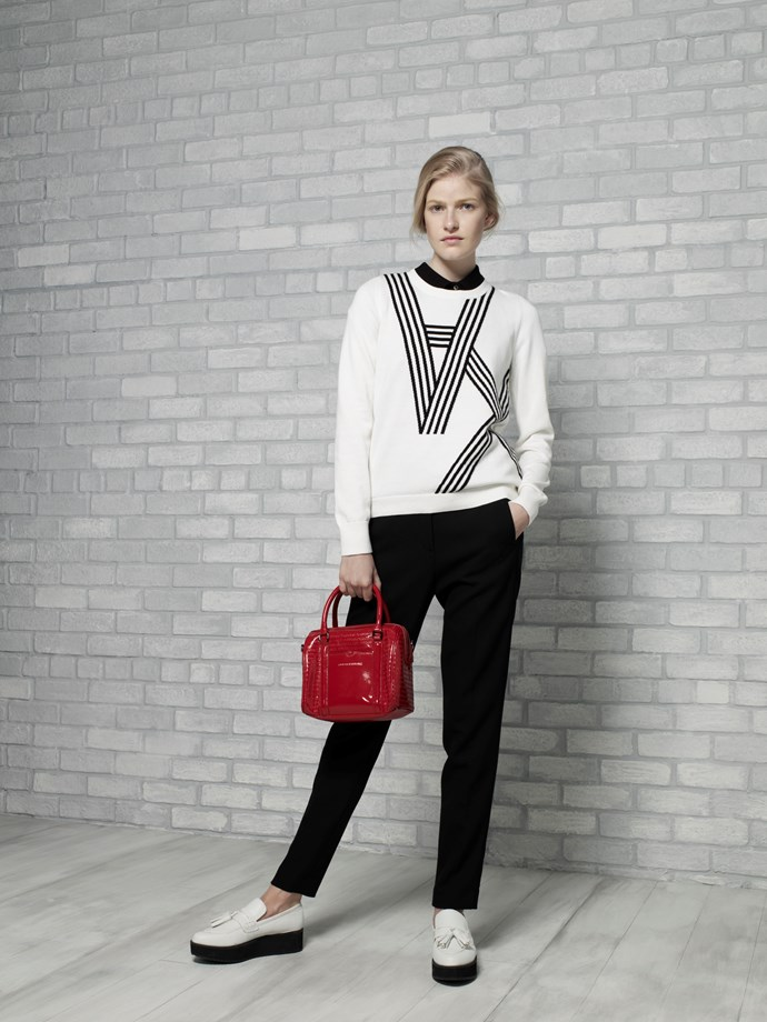 "A|X Logo Pullover in Snow/White $159 <br/> <br/> Mini Signature Satchel in Siren $179 <br/> <em>All Armani Exchange</em> <br/><br/><br/> This gallery is brought to you by the new <strong><a href=""http://www.armaniexchange.com/jump.do?itemID=15&itemType=SINGLESLOT&australia=home&bgImage=bgcountry2"">A