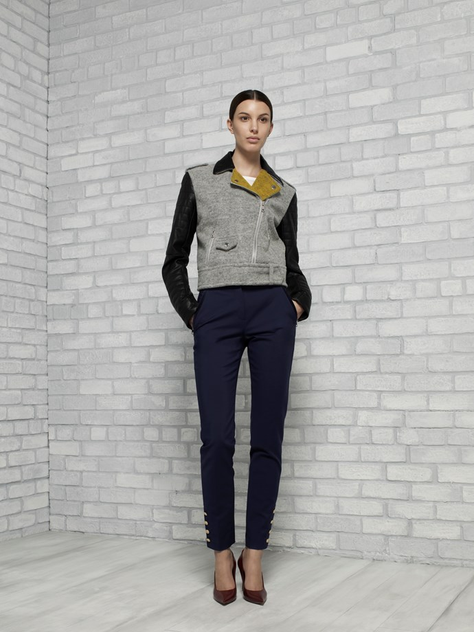 "Wool and Faux Leather Moto in Heather Grey and Gold $449 <br/> <br/> <em>All Armani Exchange</em> <br/><br/><br/> This gallery is brought to you by the new <strong><a href=""http://www.armaniexchange.com/jump.do?itemID=15&itemType=SINGLESLOT&australia=home&bgImage=bgcountry2"">A