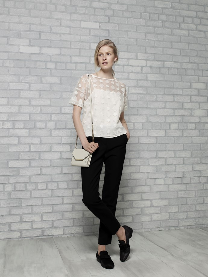 "Organza Tee in Vanilla $139 <br/> <br/> Envelope Crossbody in Vanilla $139 <br/> <em>All Armani Exchange</em> <br/><br/><br/> This gallery is brought to you by the new <strong><a href=""http://www.armaniexchange.com/jump.do?itemID=15&itemType=SINGLESLOT&australia=home&bgImage=bgcountry2"">A