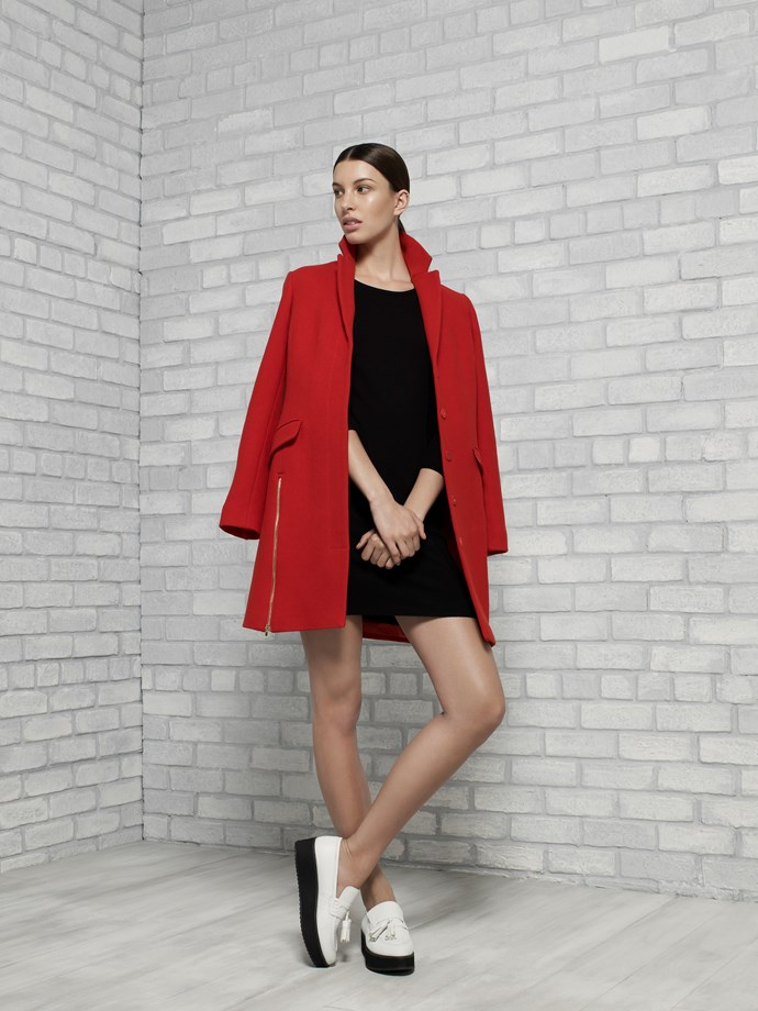 "Wool Zip Detail Coat in Stoplight $589 <br/> <br/> <em>All Armani Exchange</em> <br/><br/><br/> This gallery is brought to you by the new <strong><a href=""http://www.armaniexchange.com/jump.do?itemID=15&itemType=SINGLESLOT&australia=home&bgImage=bgcountry2"">A