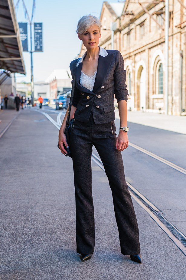 Kate Peck wearing Jason Brunsdon suit <br><br> IMAGE: TheTrendSpotter.net