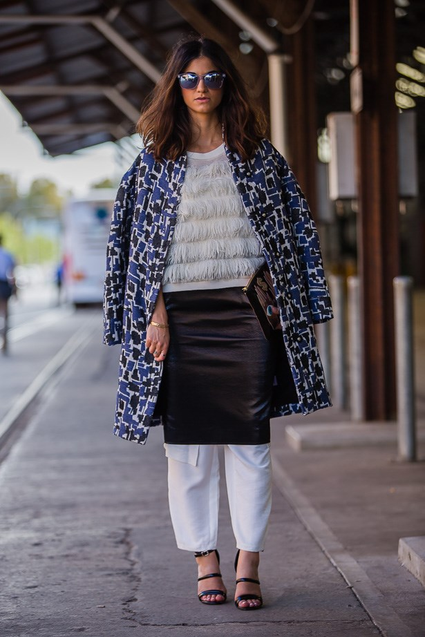 Tracy Samimi wearing Marimekko coat, Next top and Oskar skirt<br><br> IMAGE: TheTrendSpotter.net