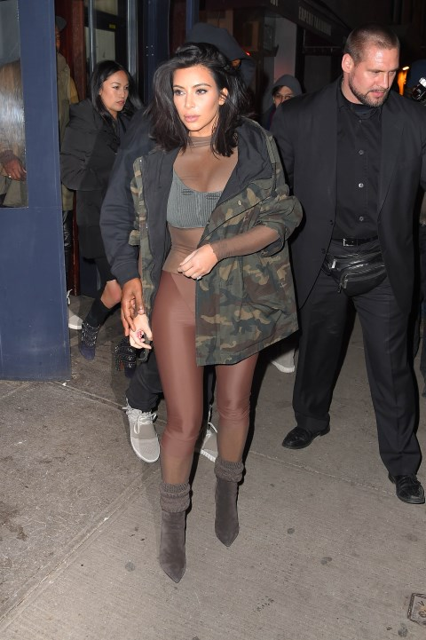 <strong>FEBRUARY 12, 2015</strong> <BR> In Kanye West X Adidas during New York Fashion Week.