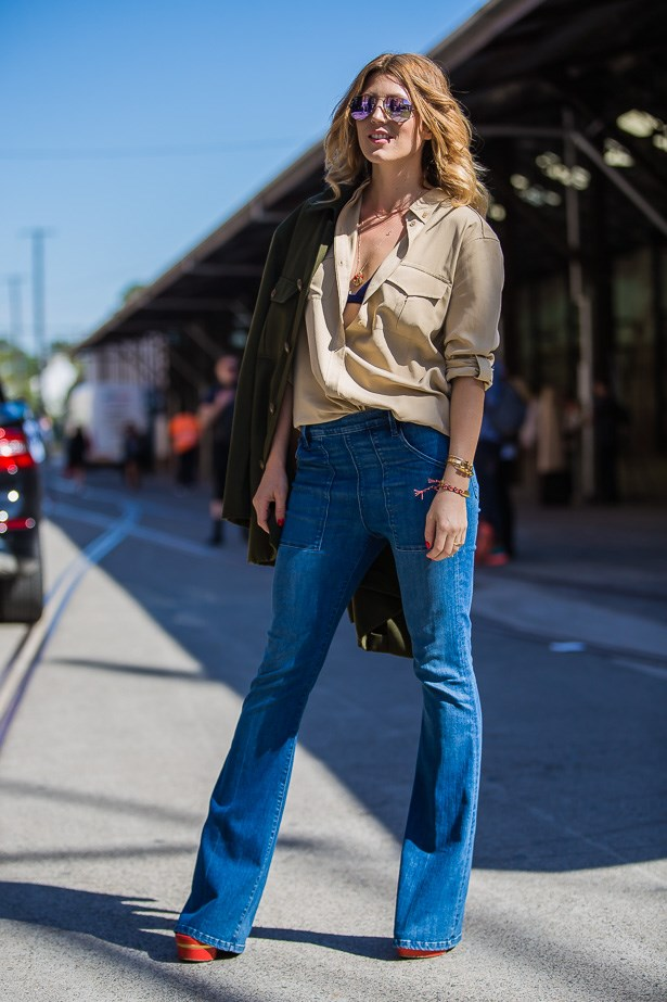 Tanja Gacic wearing Equipment shirt, Frame Denim jeans and Gucci shoes <BR><BR> IMAGE: TheTrendspotter.net