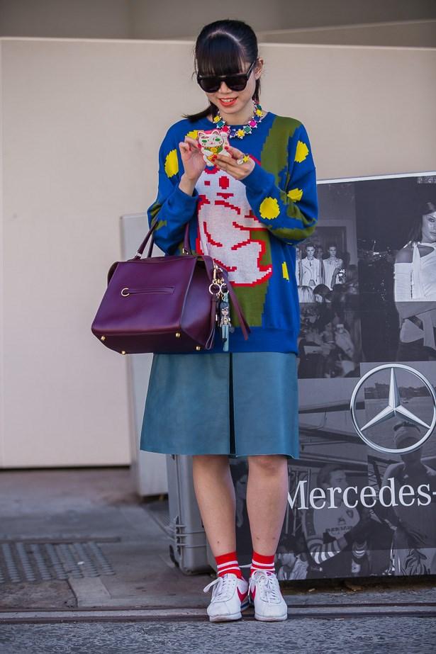 Leaf Greener wearing Jenny Kee knit, Kate Sylvester skirt and a Celine Bag <BR><BR> IMAGE: TheTrendspotter.net