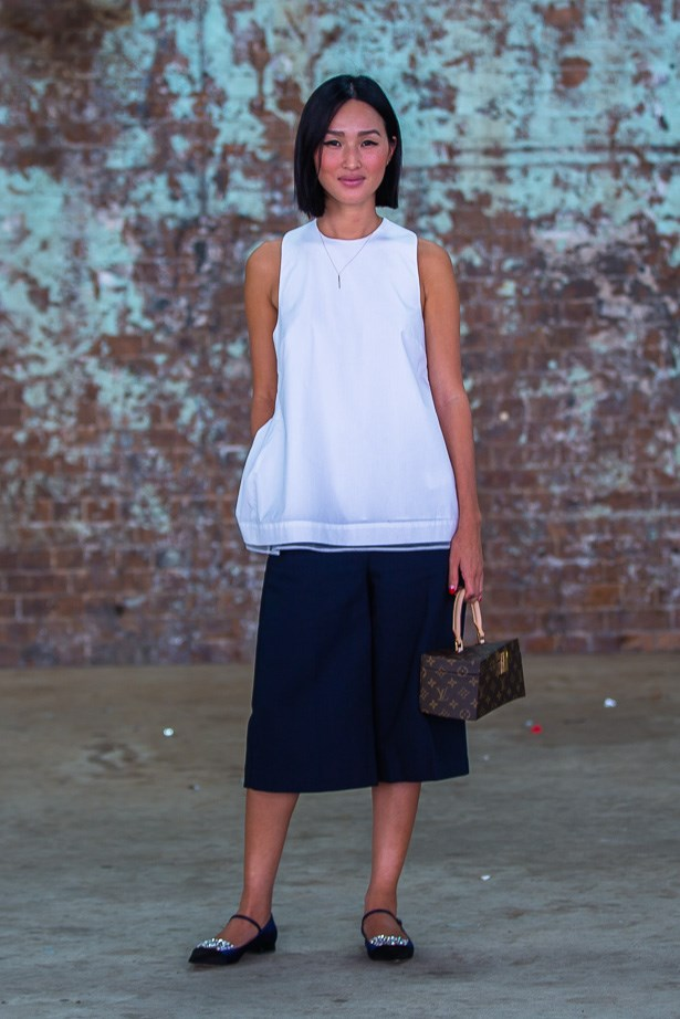 Nicole Warne wearing Victoria Beckham top, Phillip Lim pants and a Louis Vuitton bag <BR><BR> IMAGE: TheTrendspotter.net