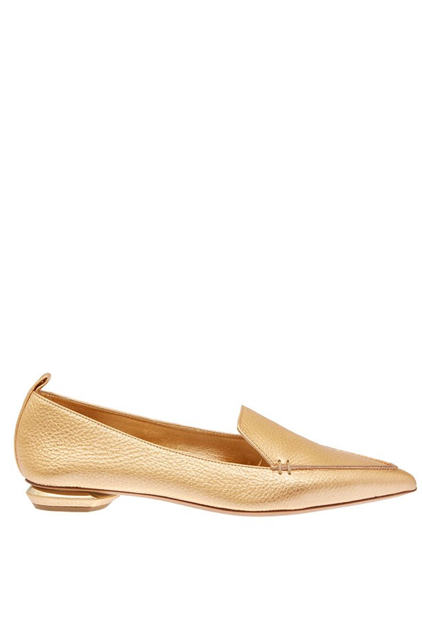 "Loafers, $435, Nicholas Kirkwood, <a href=""http://www.matchesfashion.com/au/products/Nicholas-Kirkwood-Beya-metallic-leather-loafers-1001110#"">matchesfashion.com</a>"