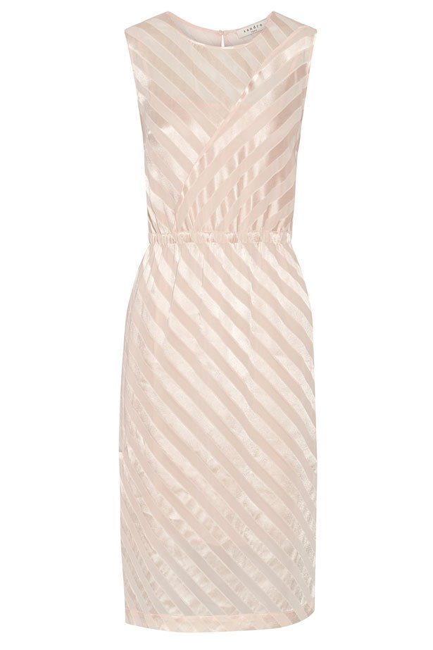 "Dress, $226, Sandro, <a href=""http://www.theoutnet.com/product/Sandro/Rectiligne-striped-crepe-de-chine-and-tulle-dress/592301?cm_mmc=Havas_ELLEAUS-_-Sandro-_-SS15-_-150415"">theoutnet.com</a>"