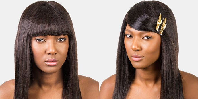 "<strong>EMBELLISHED SIDE-SWEEP </strong> <br>Ladies who rock weaves or wigs, take note! This is a great (not to mention gorgeous) way to get those bangs temporarily out of your eyes, even for a stubborn fringe that's meant to stay put. <br><br><strong>What you need: </strong> <br>Bobby pins <br>Fine tooth comb or boar bristle brush <br>Embellished barrettes or clips <em><br><br>Pictured: Jennifer Behr Petite Metal Leaf Barrette, <a href=""jenniferbehr.com"">jenniferbehr.com</a></em>"