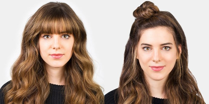 <strong>HALF-KNOT </strong> <br>Good news! The cool girl 'do of the moment works very well for getting your bangs out of your eyes. Annastasia recommends choosing spin pins over hair elastics for a more seamless-looking (but equally sturdy) top-knot. <br><br><strong>What you need: </strong> <em><br>Goody Spin Pins, Target</em>