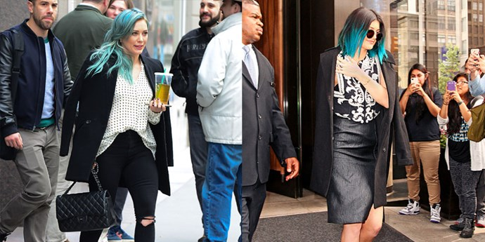 """<strong>COAT OVER SHOULDER TWINS </strong> <br>""""Hilary Duff on March 30, 2015 <br>""""Kylie Jenner on June 5, 2014"""