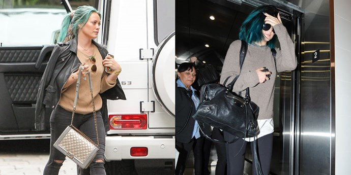 """<strong>CAMEL SWEATER TWINS </strong> <br>""""Hilary Duff on March 22, 2015 <br>""""Kylie Jenner on June 6, 2014"""