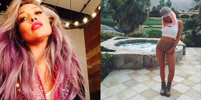 """<strong>PINKPRINT TWINS </strong> <br>""""Hilary Duff on April 20, 2015 <br>""""Kylie Jenner on April 17, 2015"""