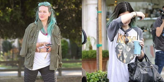 """<strong>FADED HAIR/FADED ROCKER TEE TWINS </strong> <br>""""Hilary Duff on March 26, 2015 <br>""""Kylie Jenner on April 28, 2014"""