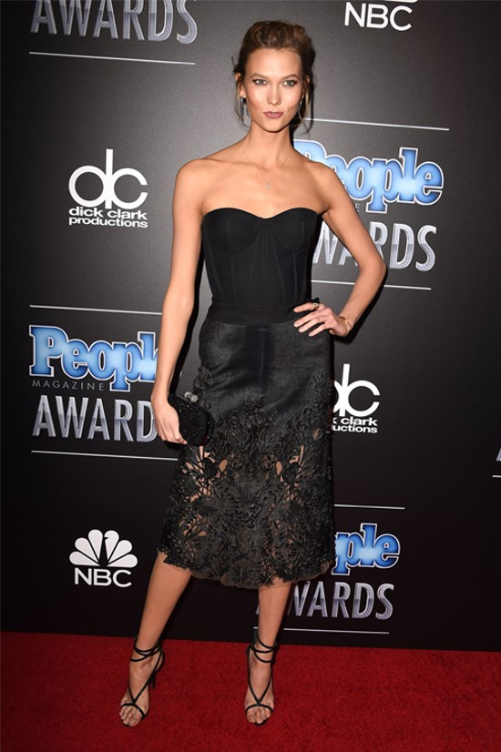 Karlie Kloss wearing Zac Posen and Marchesa at the PEOPLE Magazine Awards, December 2014