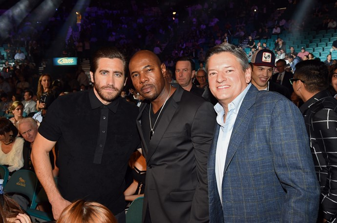 Jake Gyllenhaal, Antoine Fuqua and Netflix Chief Content Officer Ted Sarandos