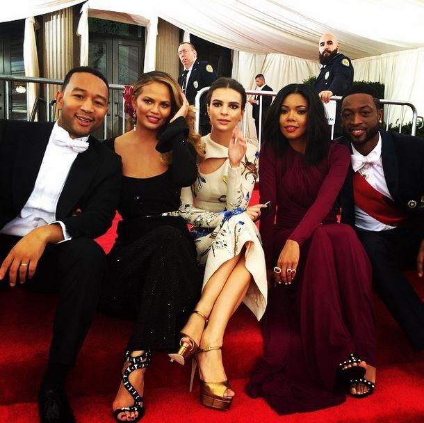 "John Legend, Chrissy Teigen, Emily Ratajkowski, Gabrielle Union and Dwayne Wade<br><br> ""Post Met Ball. Waitin for cars. @chrissyteigen@gabunion @dwyanewade @emrata"" - @johnlegend"
