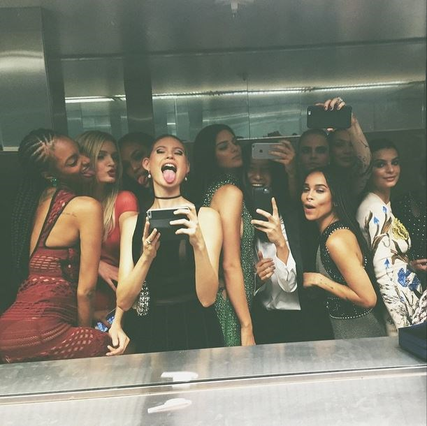 "Jourdan Dunn, Lily Donaldson, Joan Smalls, Behati Prinsloo, Kendall Jenner, Zoe Kravitz, Cara Delevingne, Gigi Hadid, Emily Ratajkowski <br><br> ""bathroom selfie?"" - @kendalljenner"