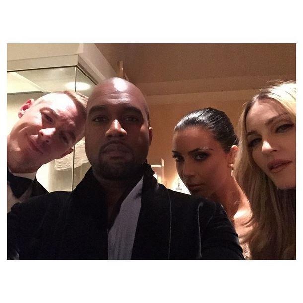 """Diplo, Kanye West, Kim Kardashian and Madonna <br><br> """"Met @diplo x Kanye x @Madonna"""" - @kimkardashian"""