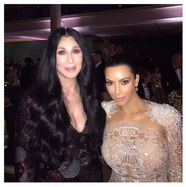 """Cher and Kim Kardashian<br><br> """"This beauty, this icon! I'm so so happy I met her!!!! We spoke about our amazing Armenian journeys! And that Bob Mackie gown she wore to the Met 1974"""" - @kimkardashian"""