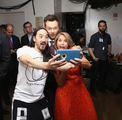 <strong>STEVE AOKI, JOEL McHALE, AND KATIE COURIC</strong>