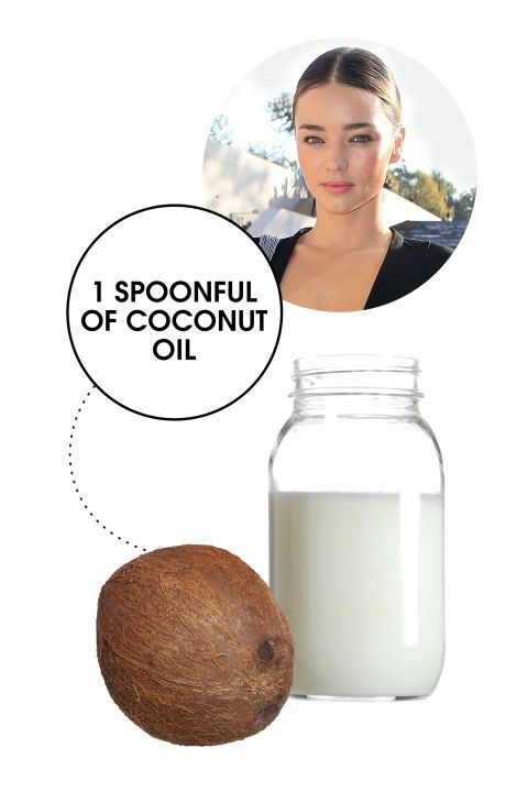 <strong>MIRANDA KERR</strong> <BR> The former Victoria's Secret Angel is hardly secretive about how she stays so fit, not that we're complaining. One of her top tips for beating bloat? A spoonful of unrefined coconut oil, consumed daily. Believe it or not, it's actually a practice many of our go-to nutrition experts swear by to get digestion moving and flush out the system first thing in the morning. (Try stirring a teaspoon into your coffee- it's <em>amazing</em>.)