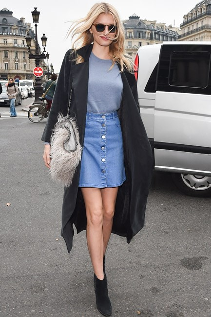 <strong>Denim Skirt</strong><br> High waist, check. A-line, check. Buttoned-up, check. Lily Donaldson sets the standard for the skirt you want, need, now.