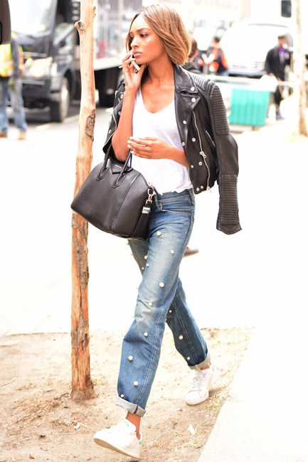 <strong>Embellished Denim</strong><br> We're making the call: pom-poms are <em>happening</em>. Whether you invest in a decorated pair or DIY, take cue from Jourdan Dunn and toughen up this twee look with leather and sneakers.
