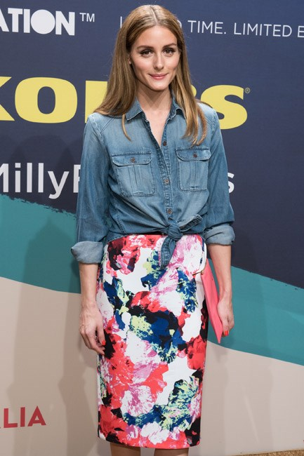 <strong>Denim Shirt</strong><br> Olivia Palermo transitioned her summer florals into autumn with a luxe chambray layer, tied at the waist. Note taken.