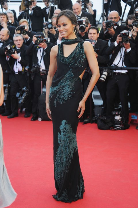 <strong>ZOE SALDANA</strong> <BR> Wearing Jason Wu in 2014.