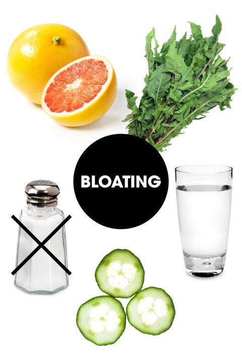 """<strong>BLOATING<BR></strong> Water retention is usually exacerbated by dehydration, since your body then tries to hold on to what little water content it has. The best way to combat this, in addition to chugging as much H2O as possible, is to fill up on fruits and veggies with a high water and fiber content. Nutritionist Dana James, MS, CNS, CDN recommends cucumbers, """"they're loaded with potassium and this acts as a natural diuretic to decrease bloating and swelling,"""" she says. She also recommends citrus fruits like grapefruit and lemon. Keri Glassman, MS, RD, CDN also touts dandelion greens, which also act as a natural diuretic. Finally, keep salt intake to a minimum."""