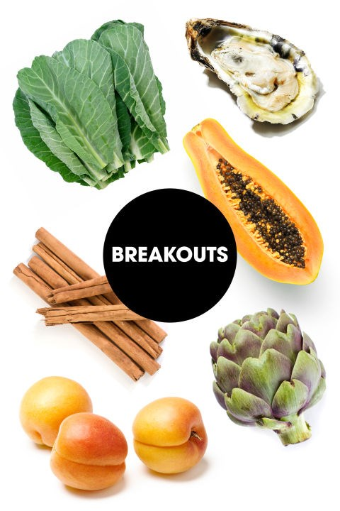 """<strong>BREAKOUTS</strong><br><br> """"Dark green leafy veggies are a good source of vitamin A, which may help maintain a good complexion, and adequate hydration is critical for good skin any time of month,"""" says Rebecca Blake, MS, RD, CDN, and clinical director of nutrition at Mount Sinai in NYC. James suggests focusing on orange fruits in particular like papaya, apricot, and peaches. """"The yellow pigments in these summer fruits help to increase skin cell turnover to decrease breakouts caused by excess oiliness from hormonal changes,"""" she says. Sprinkle that fruit with some cinnamon, which is a natural anti-inflammatory and can help stabilize blood sugar levels that might trigger breakouts. She also recommends artichokes, which can help keep your digestive flora in check. """"A healthy microbiome means radiant, clean skin!"""" Finally, they're best known as a notorious aphrodisiac, but Glassman notes that oysters can also put our skin in a good mood. """"The high zinc content decreases oxidative damage and may keep your skin clear of irritants,"""" she says."""