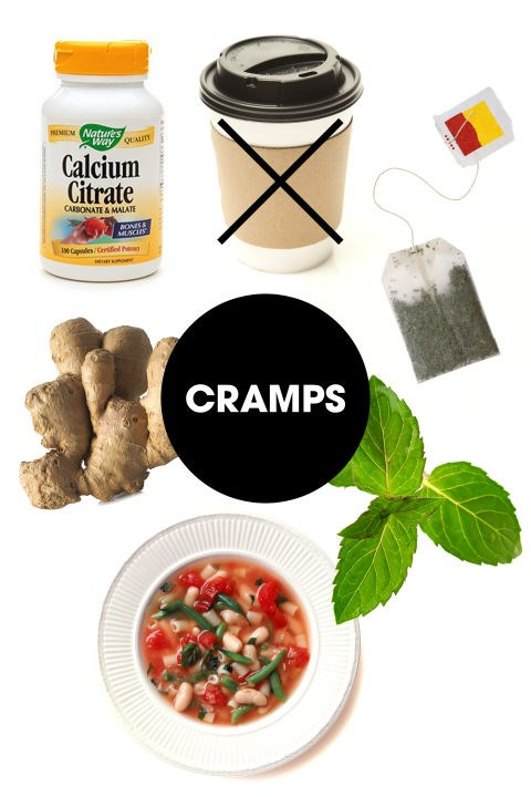 """<strong>CRAMPS</strong><br> Cramps are essentially muscle spasms, so soothing and relaxing those muscles is key to finding relief. Sadly there isn't a lot that can be done through diet alone, but just like a heating pad can be hugely helpful, heating your body from the inside out can make a difference. Start with a mug of hot mint tea, since mint also has an antispasmodic effect on muscles and has been shown to soothe cramps, advises James. She also recommends a simple, nourishing bowl of warm soup—""""it may be psychosomatic, but if you get cramps you know this makes you feel better,"""" she says. Glassman adds that tossing in some grated ginger could provide some additional relief, thanks to its warming and anti-inflammatory properties. Also consider taking a calcium supplement, since some studies suggest that keeping levels high can help to dull menstrual pain as well as other PMS symptoms.<br> And while crankiness and exhaustion might tempt you to drown yourself in caffeine, note that the acidity in coffee tends can cause gas and digestive pain—so, cramps on cramps. But! Keep reading to find out how to boost your mood so that your cup of joe won't even be necessary."""