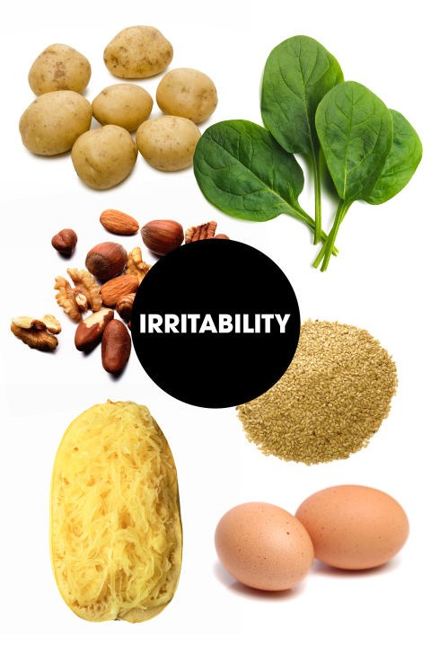 """<strong>IRRITABILITY</strong><br> """"Nuts, spinach, and eggs are high in non-heme iron, which is found in anything other than animal meat, and can keep hormones at bay,"""" says Glassman. Nuts are also rich in fatty acids, which Blake notes can also help improve mood. """"Fatty acids can also help mitigate the irritability by flattening peaks and dips in blood sugar levels,"""" she adds.<br> James recommends spaghetti squash and blue potatoes. """"Spaghetti squash mildly stimulates insulin which helps to transport tryptophan into the brain so that it can be converted to serotonin to boost the mood,"""" she says. """"Potatoes help to activate serotonin in the brain, and the anthocyanins—aka the blue pigment— help protect the neurons from damage so that the brain can listen better to serotonin, making you feel less irritable."""""""