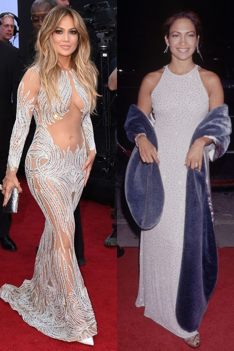 <strong>JENNIFER LOPEZ</strong> <BR> <strong>Now:</strong> At the Billboard Music Awards <BR> <strong>Then:</strong> At a red carpet event in the '90s