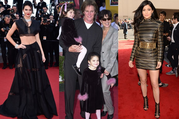 <strong>KENDALL AND KYLIE JENNER</strong> <BR> <strong>Now:</strong> Kendall at the Cannes Film Festival and Kylie at the Billboard Music Awards <BR> <strong>Then:</strong> With their parents at <em>Emperor's New Groove</em> premiere in 2000