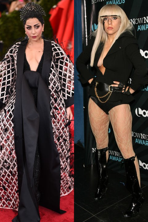 <strong>LADY GAGA</strong> <BR> <strong>Now:</strong> At the Met Gala <BR> <strong>Then:</strong> At the 2008 NewNowNext Awards
