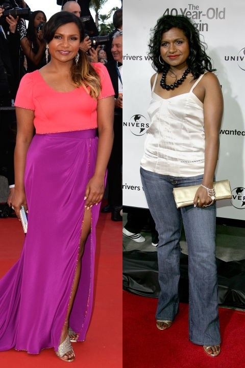 <strong>MINDY KALING</strong> <BR> <strong>Now:</strong> At the Cannes Film Festival <BR> <strong>Then:</strong> At <em>The 40-Year-Old Virgin</em> premiere in 2005