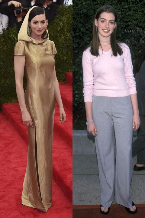 <strong>ANNE HATHAWAY</strong> <BR> <strong>Now:</strong> At the Met Gala <BR> <strong>Then:</strong> At the Fox TV Up Front celebration in 1999