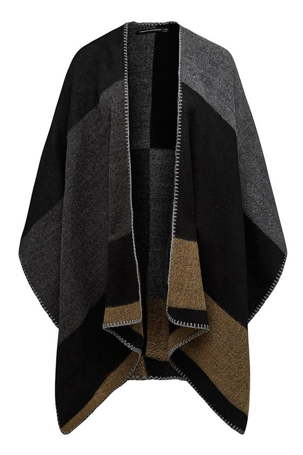 "Cape, $69.95, French Connection,<a href=""http://www.frenchconnection.com.au/new-collection/patchwork-cape/w2/i7978373_2407005/""> frenchconnection.com.au</a>"