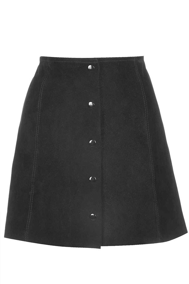 """Skirt, $104, Topshop, <a href=""""http://www.topshop.com/en/tsuk/product/new-in-this-week-2169932/petite-suede-button-front-a-line-skirt-4444810?bi=1&ps=200"""">topshop.com</a>"""