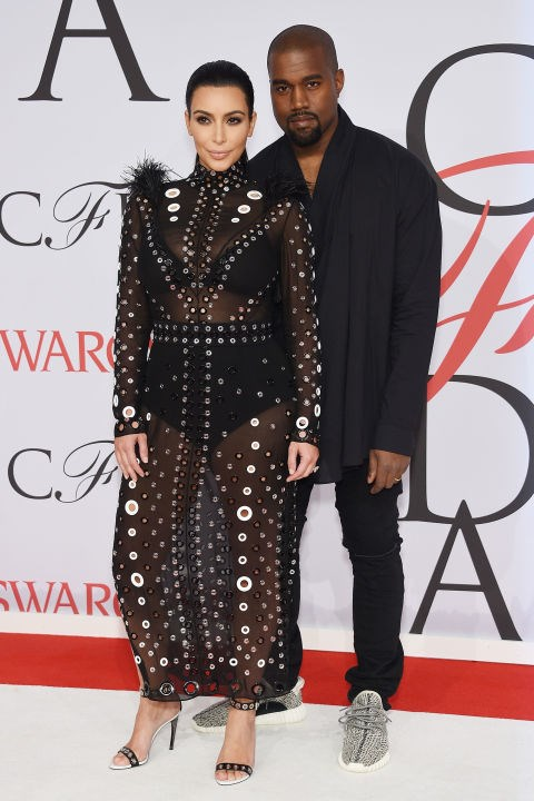 <strong>KIM KARDASHIAN AND KANYE WEST</strong> <BR> Kim Kardashian in Proenza Schouler