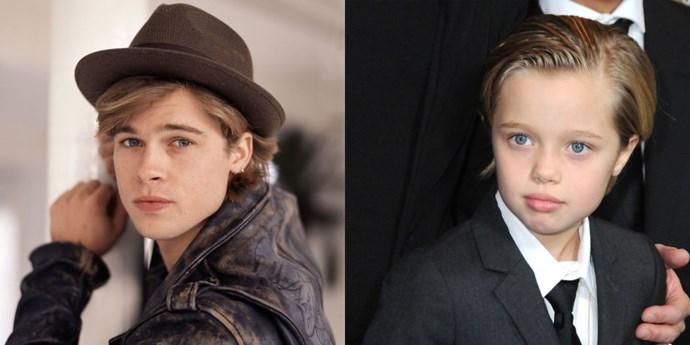 <strong>Brad Pitt and Shiloh Jolie-Pitt</strong>