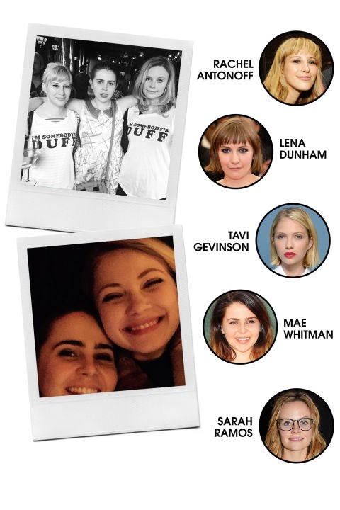 THE #GIRLBOSS CREW This squad largely centres around young women doing it for themselves, like fashion designer Rachel Antonoff, Lena Dunham, and Tavi Gevinson, as well as Parenthood's Mae Whitman and Sarah Ramos. All-Around Vibe: =Down-to-Earth, hipster-esque, and openly supportive of each other's professional pursuits. Preferred PDA: Frequent social media call-outs, dinner parties, and Instagram posts from unverified accounts. Signature Look: Vintage-inspired, and often, Antonoff's own designs. Members: Parenthood's Miles Heizer (Whitman's BFF), Fun's Jack Antonoff (Rachel's brother and Dunham's boyfriend).