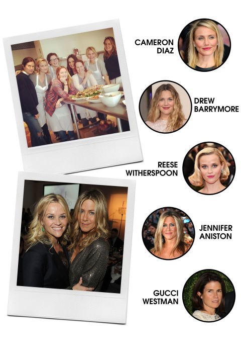 CAMERON'S A-LIST ANGELS Cameron Diaz is kind of like the Taylor Swift of A-list actresses—her friend net is wide, yo. BFF-in-charge goes to Drew Barrymore, and they also frequently pal around with Reese Witherspoon, Jennifer Aniston, and the group's resident makeup artist, Gucci Westman. All-Around Vibe: Like walking rom-coms, these ladies are feel-good and goofy. Preferred PDA: Girls' getaways in Napa, beach hangs, and awards show selfies. Signature Look: Glam on the red carpet, makeup-free and low-key otherwise. Fringe Members: Gwyneth Paltrow, Nicole Richie, Chelsea Handler, Lake Bell