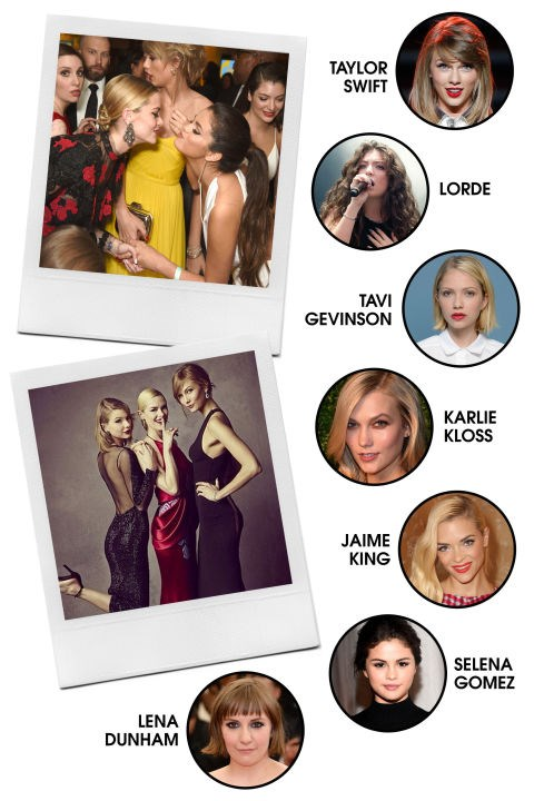 """THE TAYLOR POSSE Trying to narrow down Taylor Swift's girl gang seems like a near-impossible task, but if we had to select a core group, this impressive lineup would be it. (Karlie Kloss gets the extra nod for being head-BFF-in-charge.) All-Around VibeLikeable, outspoken, and on top of the world. Preferred PDA: Group hugs and impromptu dance parties at awards shows; selfies in each other's bedrooms (or on group vacations). Signature Look: Varies among members (when they're not in their red carpet finery). Fringe Members: Please refer to our handy map of the Taylor Swiftiverse http://www.elle.com/culture/celebrities/news/a26609/the-taylor-swiftiverse/"""" target=""""_blank"""