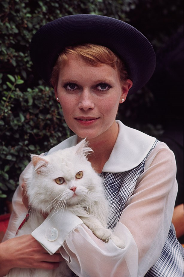 Can't work out if we like Mia Farrow's hat, collar or fluffy white cat best. Photo taken in 1968.