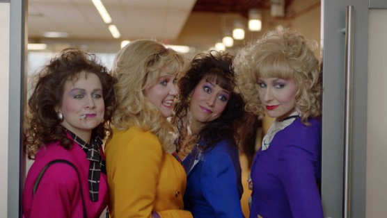 A still from Amy Schume's 80s Ladies skit on her show, Inside Amy Schumer