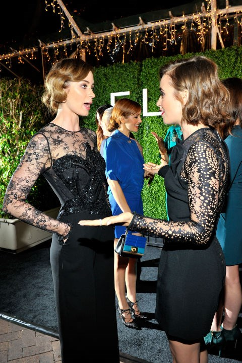 <p><strong>Emily Blunt and Lily Collins</strong> <p>Twinning friends.
